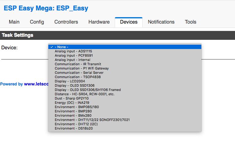 ESPeasy Mega Device Ajout