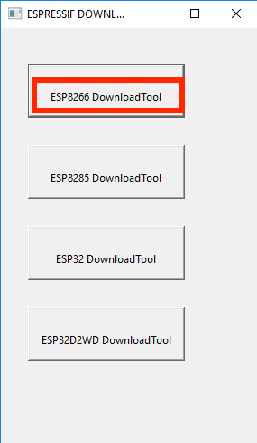 Réinitialisation d'un ESP8266 ESP8266 Download Tool